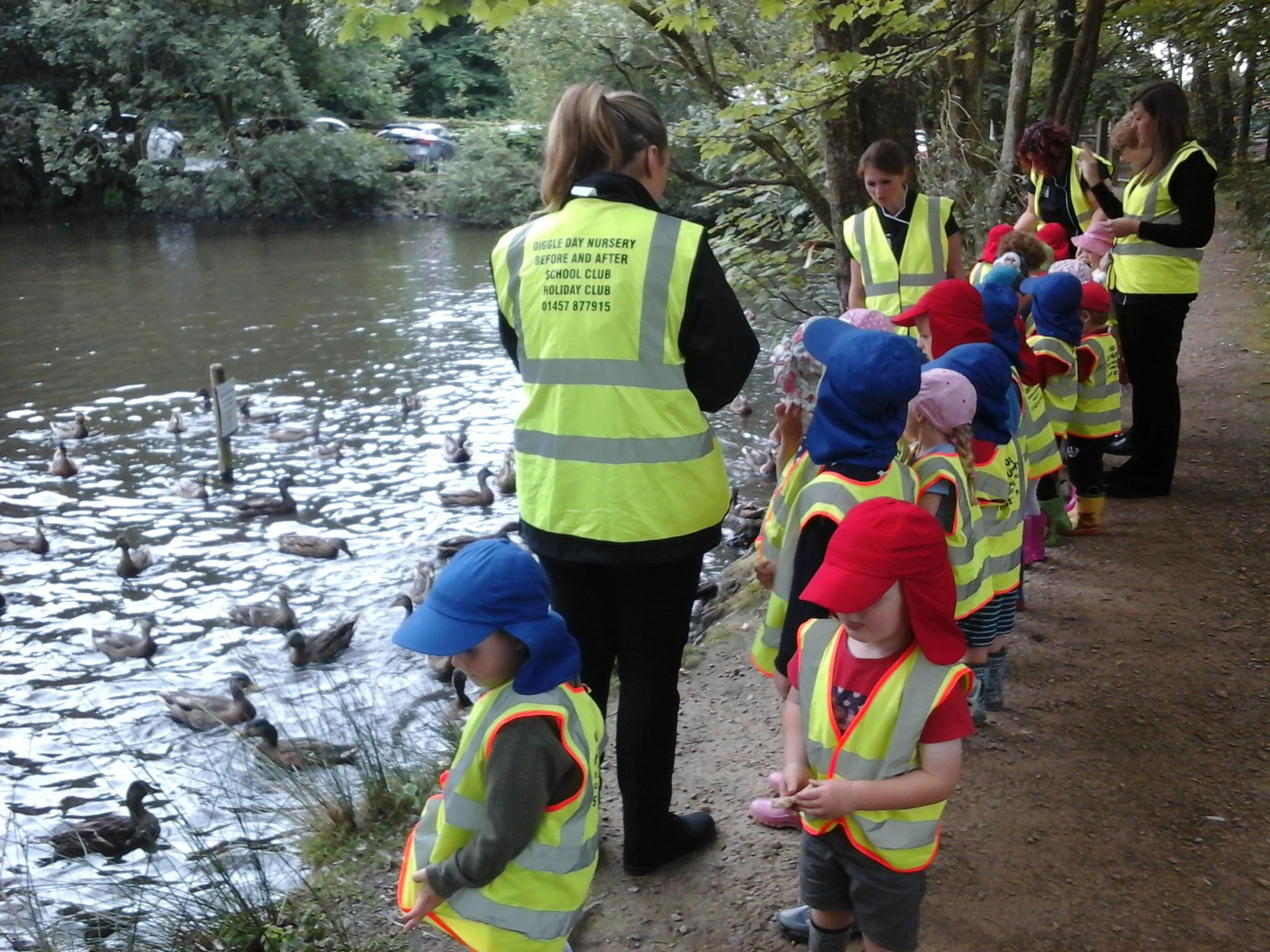 A nursery trip to feed the ducks and explore the local environment