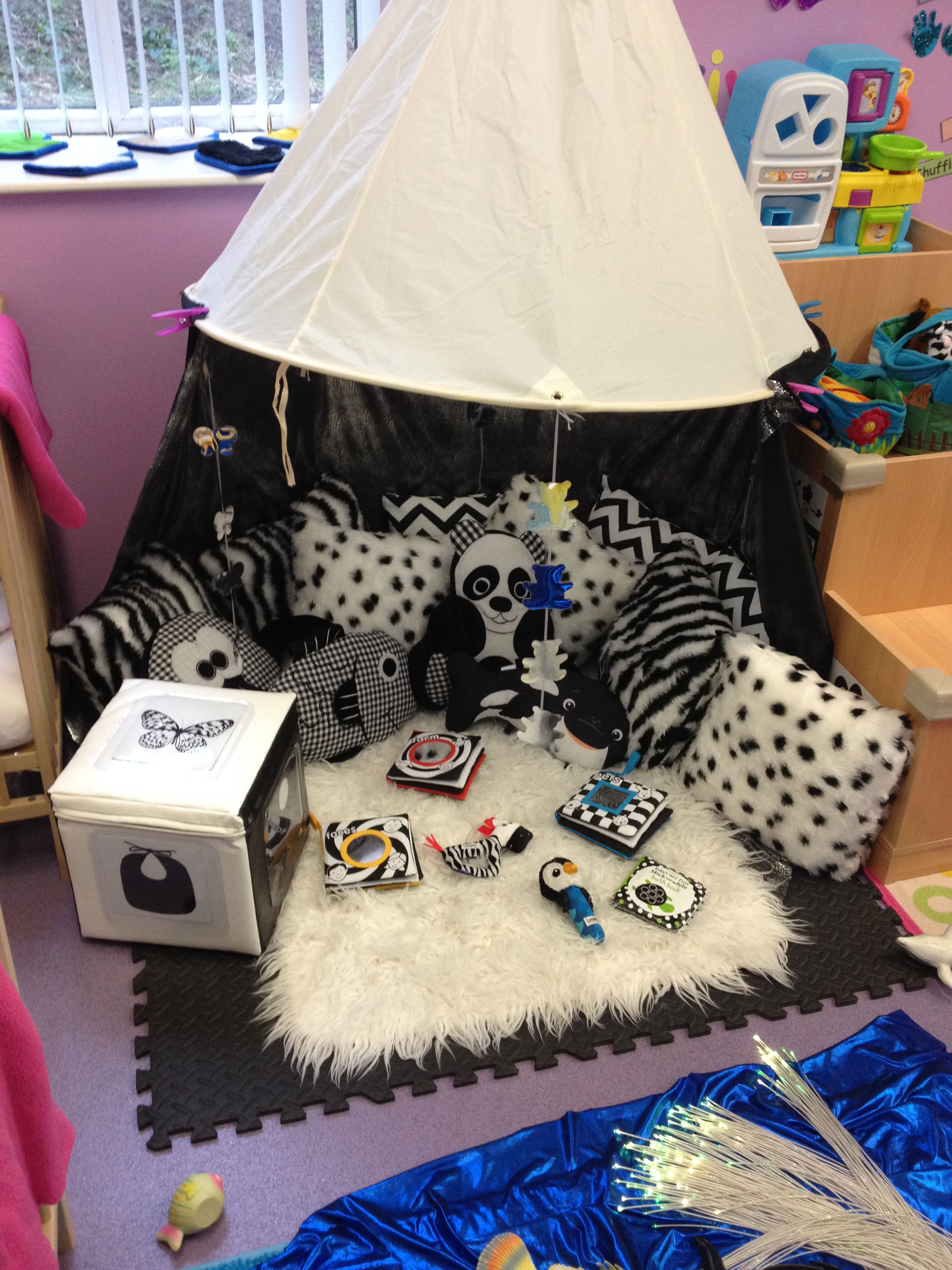 Black and white themed area in our Baby Room.